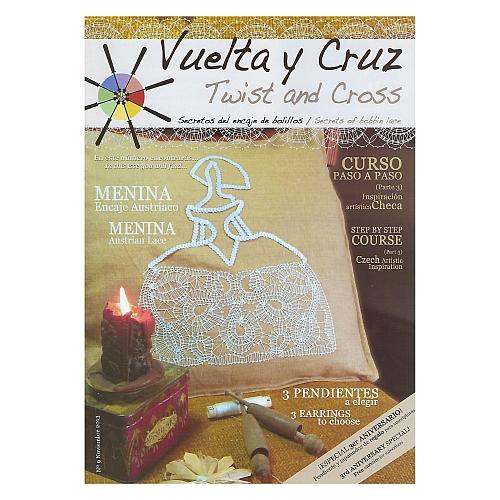 Vuelta Y Cruz - Twist and Cross – Heft Nr. 9, spanische Klöppel-Zeitschrift, in der Klöppelwerkstatt erhältlich, Spitzen-Techniken, klöppeln, Klöppelbriefe mit Abbildungen und technischen Zeichnungen.