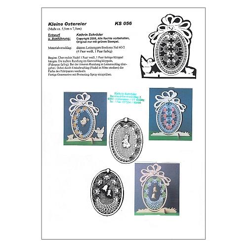 Klöppelbrief Kleine Ostereier 1 - in der Klöpelwerkstatt erhältlich, drei verschiedene Motive für kleine Holzrahmen in Eiform, klöppeln zu ostern