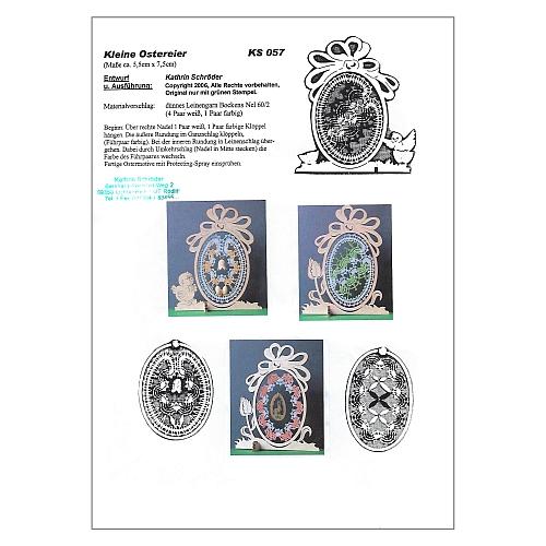 Klöppelbrief Kleine Ostereier 2 - in der Klöppelwerkstatt erhältlich, drei verschiedene Motive für kleine Holzrahmen in Eiform, klöppeln zu ostern