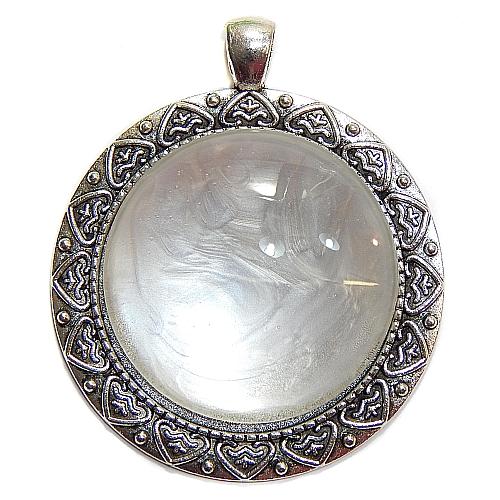 Anhänger Herzl rund Stein in perlmut, zum klöppeln, in der Klöppelwerkstatt, Schmuck, Kette, klöppeln, Torchon