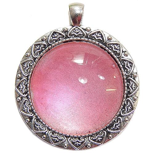 Anhänger Herzl rund Stein in rose, zum klöppeln, in der Klöppelwerkstatt, Schmuck, Kette, klöppeln, Torchon