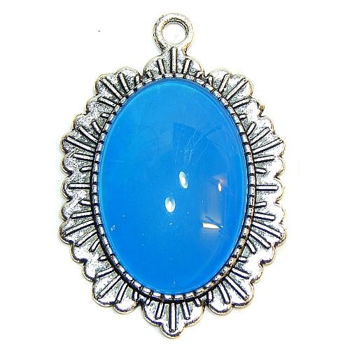 Anhänger Sonne oval mit Stein in blau, zum klöppeln, in der Klöppelwerkstatt, Schmuck, Kette, klöppeln, Torchon