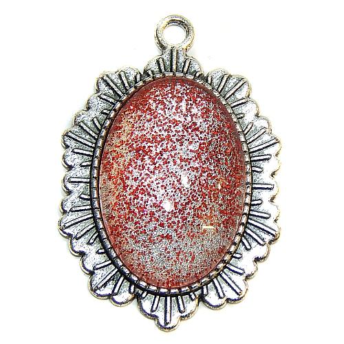 Anhänger Sonne oval mit Stein in rot glitzer, zum klöppeln, in der Klöppelwerkstatt, Schmuck, Kette, klöppeln, Torchon