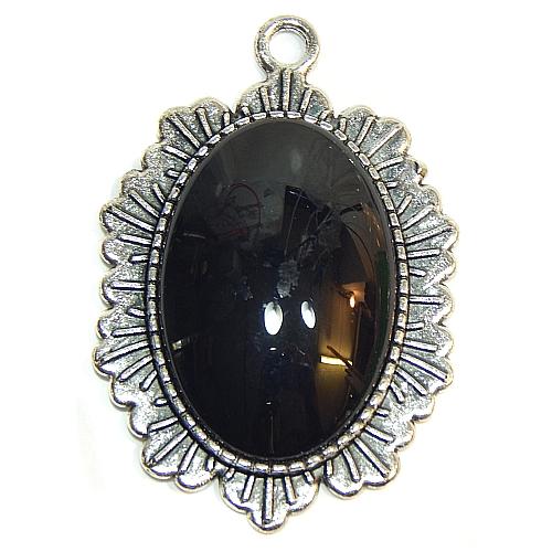 Anhänger Sonne oval mit Stein in schwarz, zum klöppeln, in der Klöppelwerkstatt, Schmuck, Kette, klöppeln, Torchon
