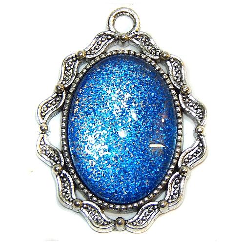 Anhänger Welle mit ovalem Stein in blau, zum klöppeln, in der Klöppelwerkstatt, Schmuck, Kette, klöppeln, Torchon
