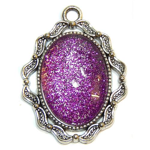 Anhänger Welle mit ovalem Stein in lila, zum klöppeln, in der Klöppelwerkstatt, Schmuck, Kette, klöppeln, Torchon