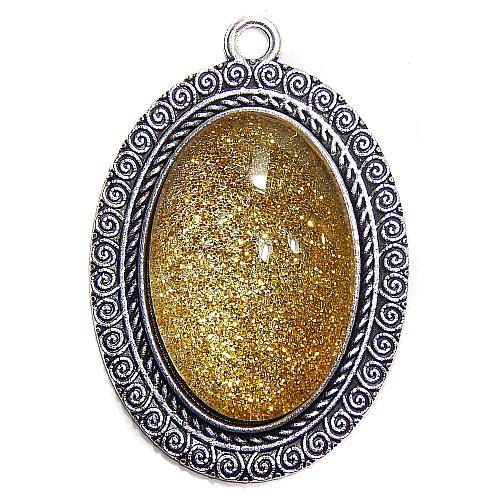 Anhänger kleiner Ovaler Stein in gelb, zum klöppeln, in der Klöppelwerkstatt, Schmuck, Kette, klöppeln, Torchon
