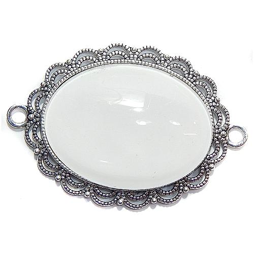 Anhänger Oval Perlmuster mit Stein in weiß zum klöppeln, in der Klöppelwerkstatt, Schmuck, Kette, klöppeln, Torchon