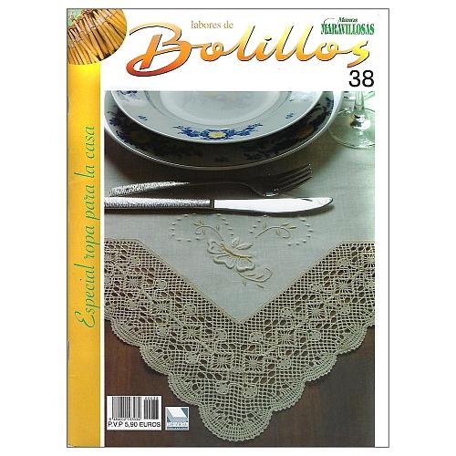Labores de BOLILLOS 38, eine spanische Zeitschrift, Klöppelbriefe zu unterschiedlichen Themen, wie Torchon, Schals, Fächer, Taschen, Bänderspitze, usw. in der Klöppelwerkstatt erhältlich.