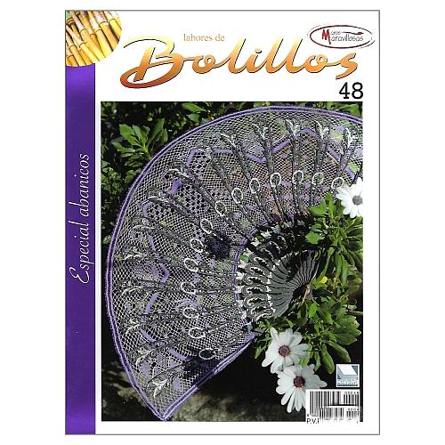 Labores de BOLILLOS 48, eine spanische Zeitschrift, Klöppelbriefe zu unterschiedlichen Themen, wie Torchon, Schals, Fächer, Taschen, Bänderspitze, usw. in der Klöppelwerkstatt erhältlich.