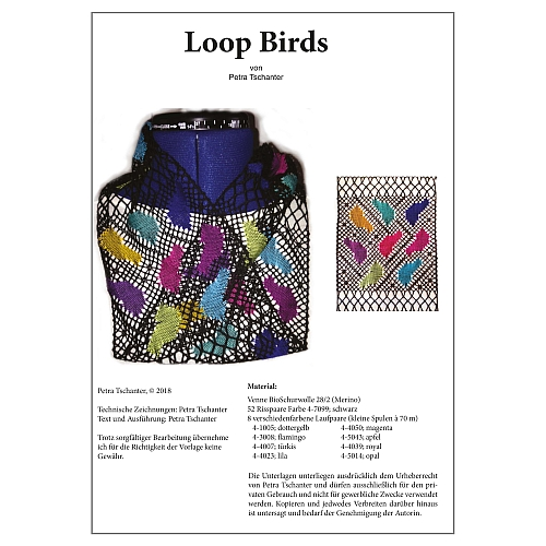 Klöppelbrief Loop Birds - Petra Tschanter, in der Klöppelwerkstatt, klöppeln, Torchon, Bio Schurwolle, Merino