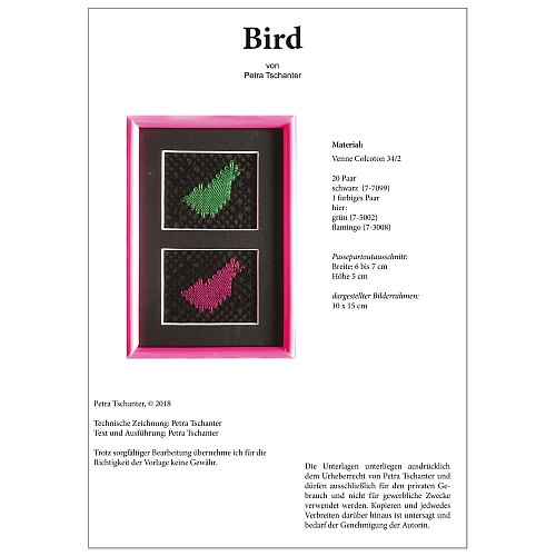Klöppelbrief Bird - Petra Tschanter, in der Klöppelwerkstatt, klöppeln, Torchon, Passepartouts