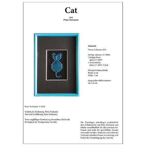 Klöppelbrief Cat - Petra Tschanter, in der Klöppelwerkstatt, klöppeln, Torchon, Passepartouts