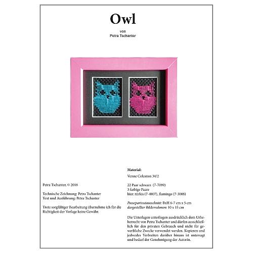 Klöppelbrief Owl - Petra Tschanter, in der Klöppelwerkstatt, klöppeln, Torchon, Passepartouts
