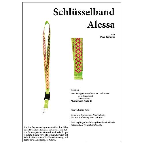 Schlüsselband Alessa- Klöppelbrief von Petra Tschanter in der Klöppelwerkstatt