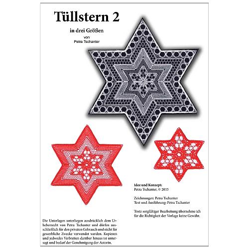 Klöppelbrief Tüllstern 2 von Petra Tschanter, in der Klöppelwerkstatt erhältlich, klöppeln, Sterne, Tüll